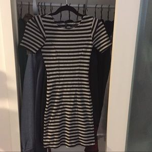 French Connection Grey and Black Striped Dress